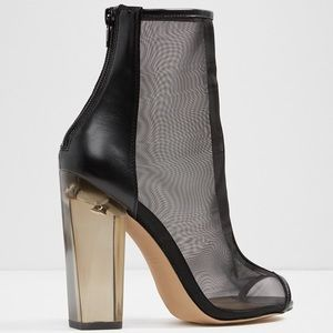 Aldo Yoania - black mesh boots with clear heels